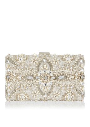 AIMEE EMBELLISHED BRIDAL BOX CLUTCH BAG , Monsoon