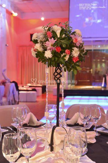 Centos de mesa con flores