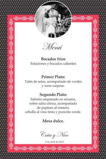 Menú para mesas