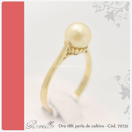 Oro18k y perla cód. 70751
