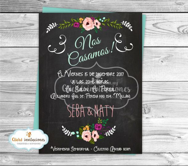 "Invitación boda ""Chalk flower"""