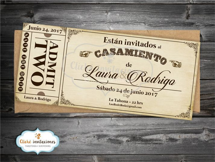 "Invitación ""Ticket Vintage"""
