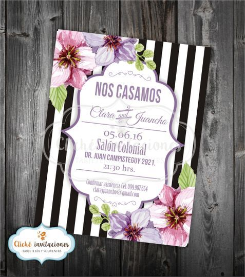 """Invitación """"Rayas con flores"""""""