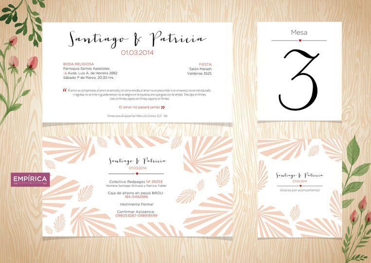 Invitación · números de mesa