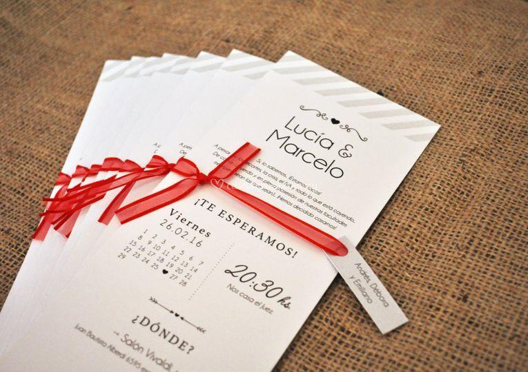 Invitación ByN + cinta roja