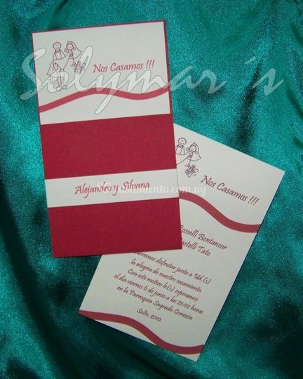 Invitación en rojo y blanco