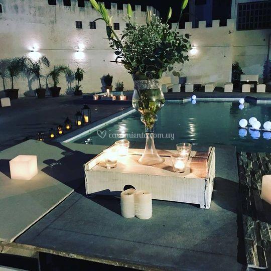 Ambientación piscina boda