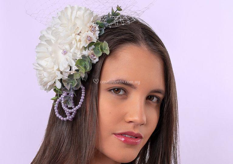 Crisantemos, tul y perlas