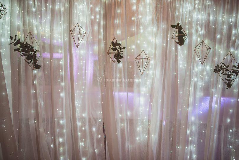 Fondo con cortina de luces