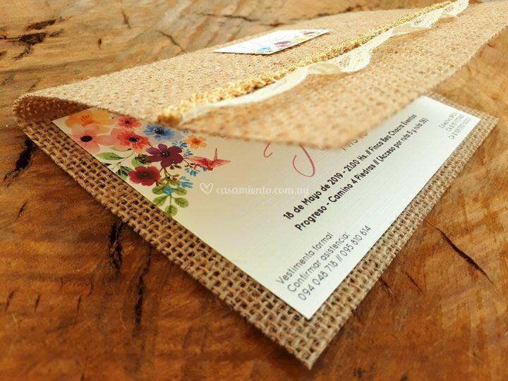 Invitación en arpillera