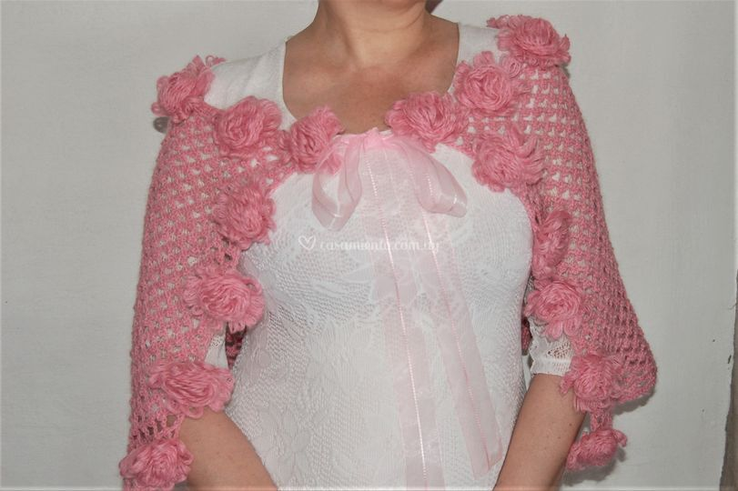 Estola rosa viejo con rosetas